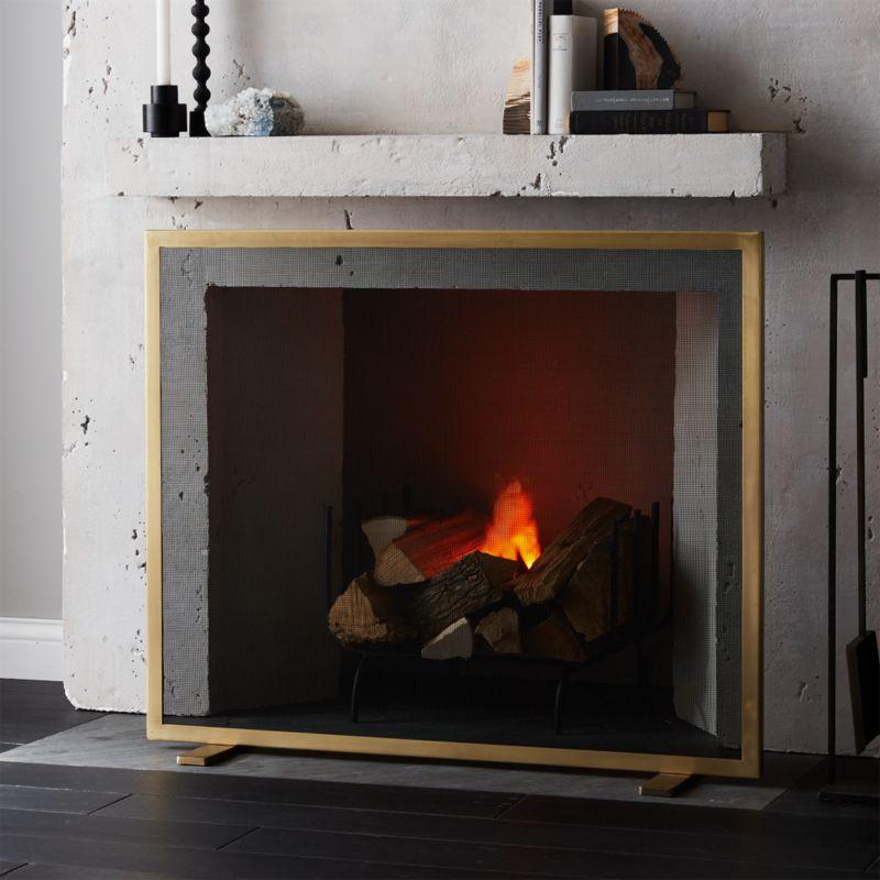 antique brass fireplace screen reviews cb2