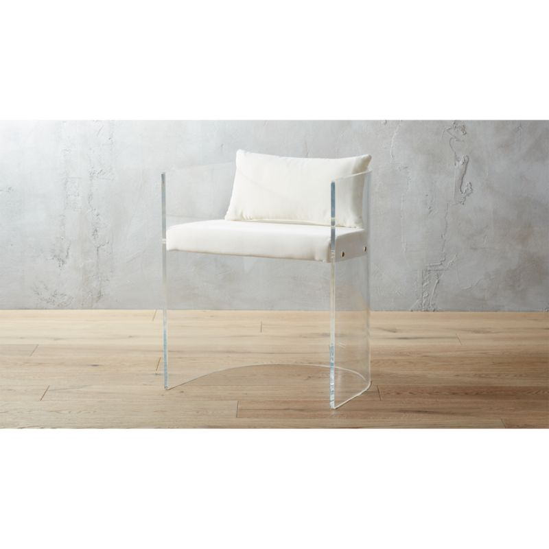 acrylic side chair with cushion covers office antonio pillow reviews cb2 antonioacrylcchairwpillowshs17 1x1