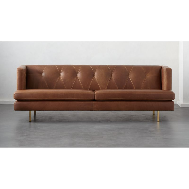 brown leather sofa on legs chaise retratil 4 lugares avec with brass reviews cb2