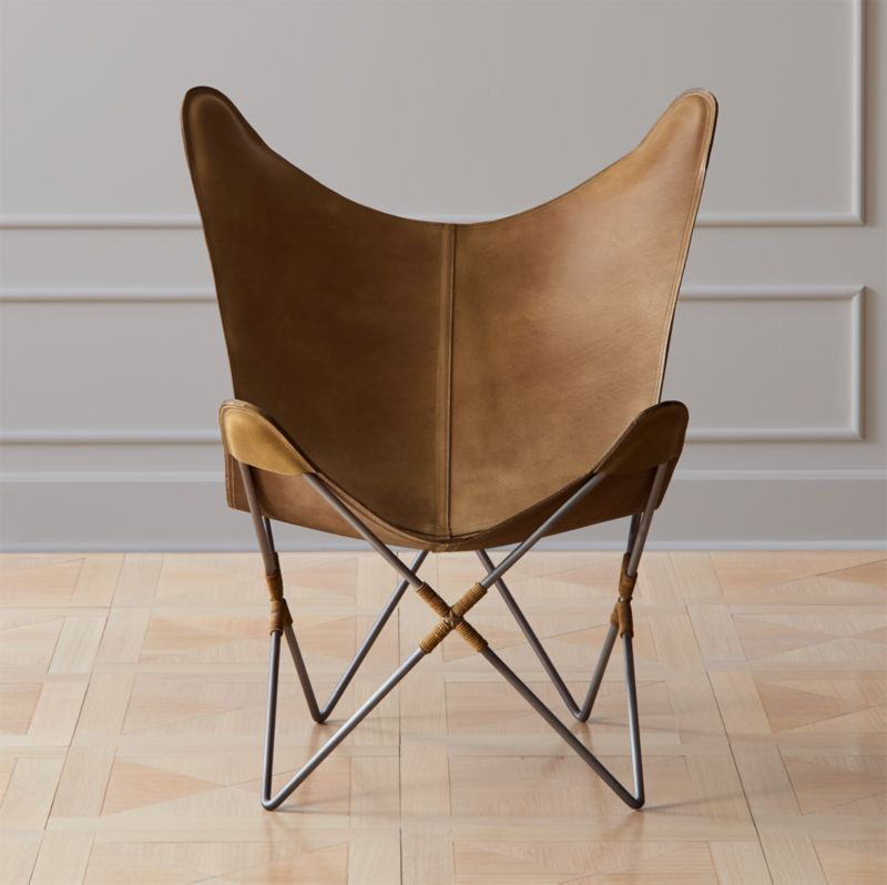 leather sling chairs antique parlor cb2 belgrano brown butterfly chair