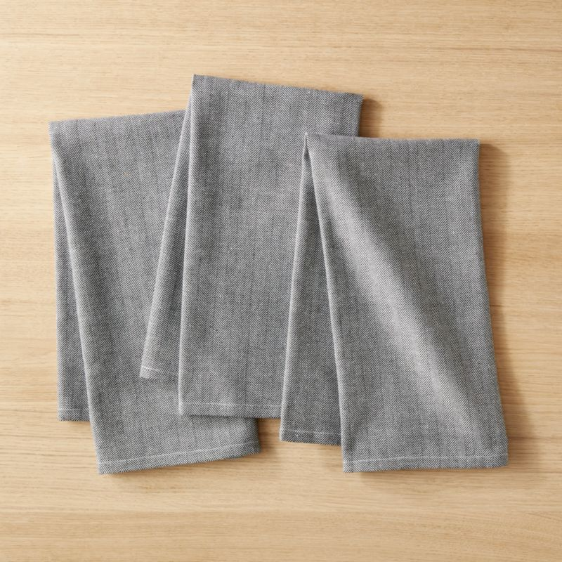 gray kitchen towels nantucket polar white cabinets black and herringbone dish towel set of 3 reviews cb2