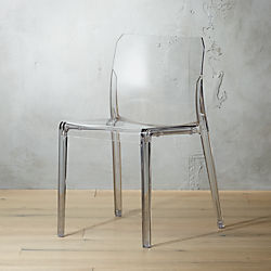 acrylic side chair with cushion gray accent chairs modern dining cafe and kitchen cb2 bolla