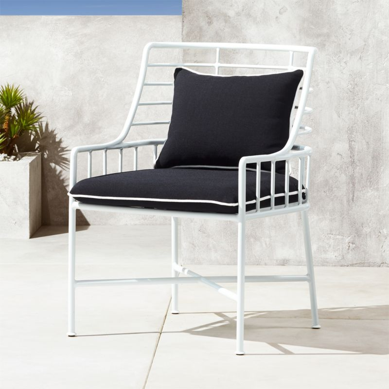 al fresco st tropez hanging chair and cushion step stool restore outdoor cushions cb2 breton white metal dining