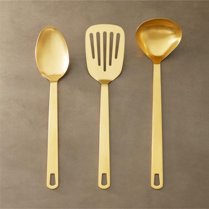 kitchen utensils set remodel works bath & of 3 brushed gold reviews cb2