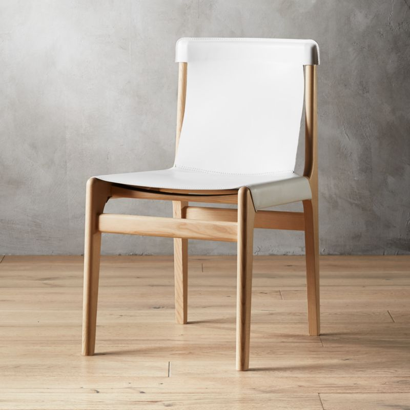 leather dining chairs round oversized chair cb2 burano white sling