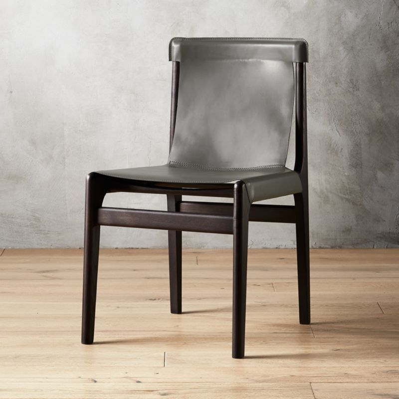 leather sling chairs dining on casters cb2 burano charcoal grey chair