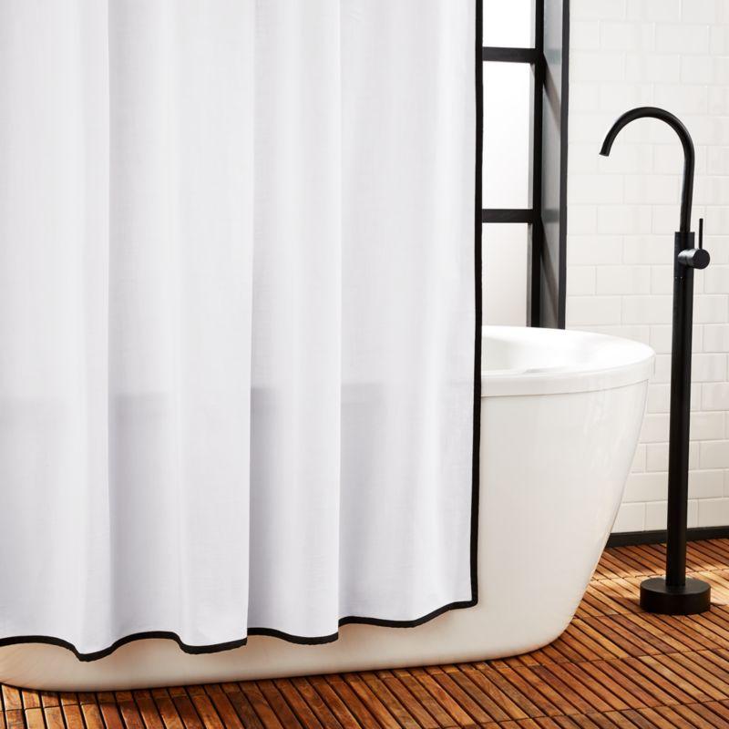 capri black border shower curtain 72 reviews cb2