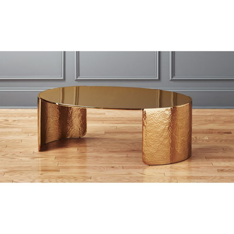 Cuff Hammered Gold Coffee Table + Reviews  Cb2
