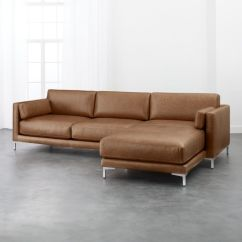 Long Sofas Leather How To Turn A Twin Bed Into Sofa Extra Cb2 District Saddle 2 Piece Sectional