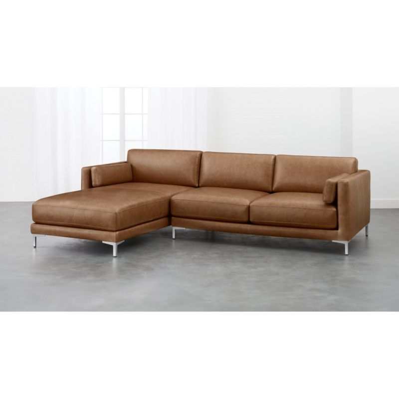 2 piece brown leather sofa bed informa bali district saddle sectional reviews cb2
