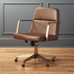 Desk Chair Brown Leather Where To Buy Covers For Metal Folding Chairs Cb2 Draper Faux Office