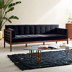 clearance sofa beds for sale printed fabric designs cb2 home accents and furniture hollywood midnight blue velvet