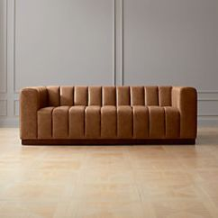 Modern Twine Curved Arm Sofa Outdoor Chaise Lounge Sofas Couches And Loveseats Cb2 Forte Channeled Saddle Leather