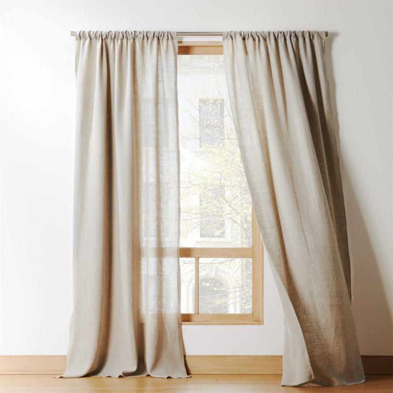 Natural Linen Curtain Panel  CB2