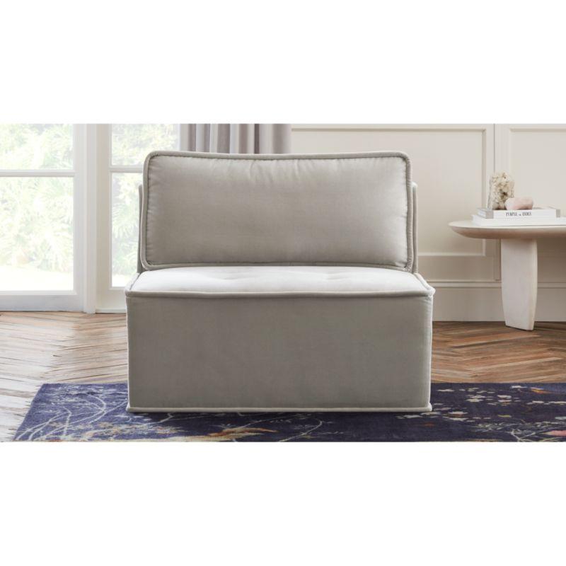 velvet tufted chair folding sport chairs heavy duty quattro sharkskin light grey armless reviews cb2