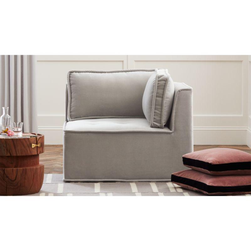 velvet tufted chair fisher price booster high quattro sharkskin light grey corner reviews cb2