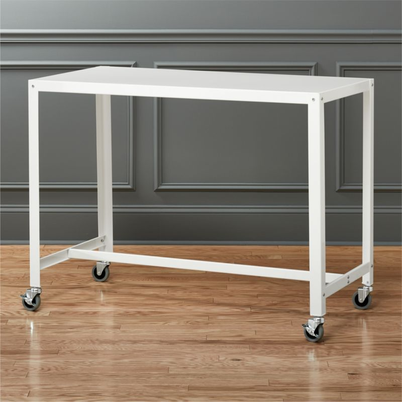 modern kitchen cart cabinet lazy susan islands cb2 go white rolling counter table stand up desk