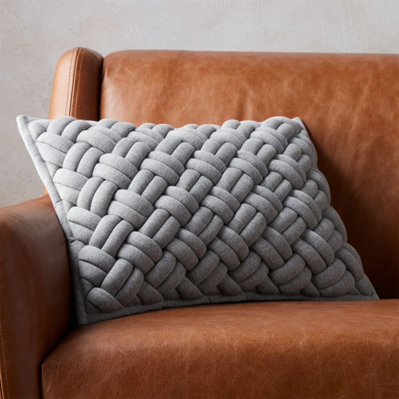 18 x12 jersey interknit grey pillow with down alternative insert reviews cb2