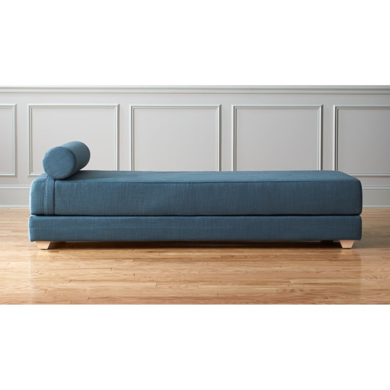 twin pull out sofa murphy bed system lubi blue daybed sleeper + reviews | cb2