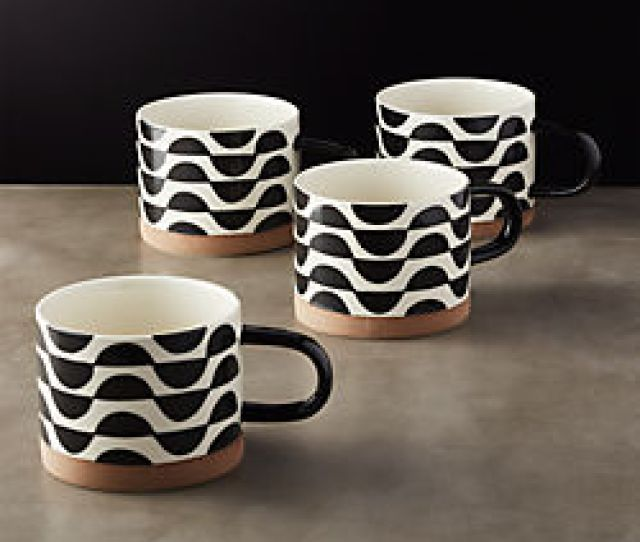 Luna Black And White Mugs Set Of