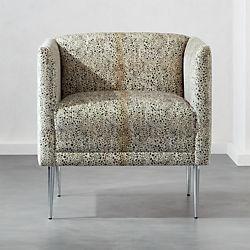 metal armchair slipcover for chair and a half t cushion modern accent chairs armchairs cb2 marais cheetah print velvet with chrome legs