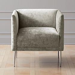 grey club chair swivel patio chairs modern accent and armchairs cb2 marais shadow velvet armchair with chrome legs