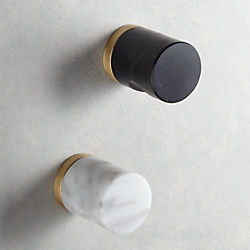 kitchen knobs french cabinets and handles cb2 marble notched cylinder