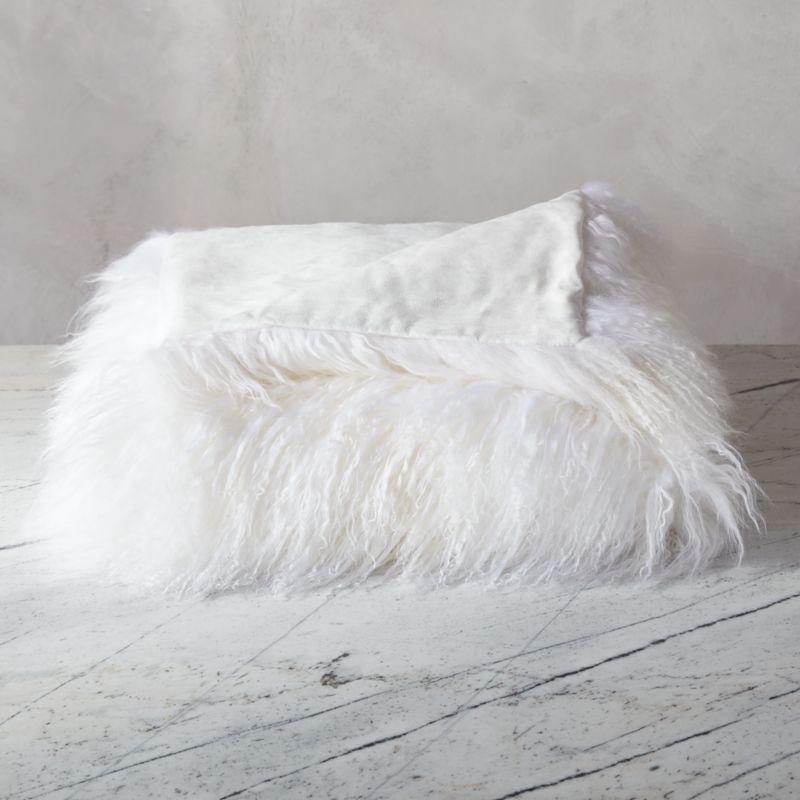 White Fur Throw Pillow