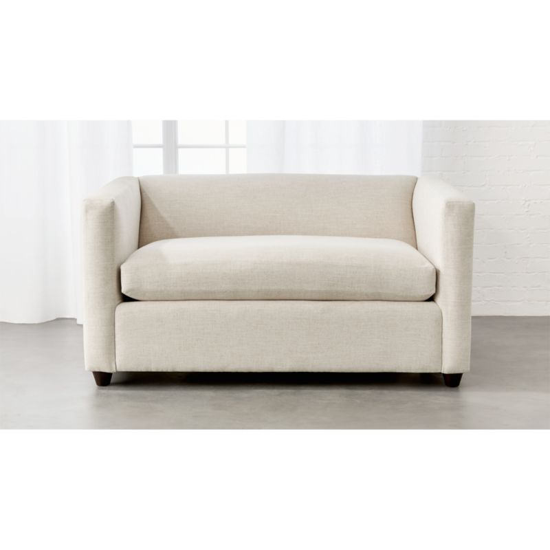 crate and barrel willow twin sleeper sofa leather sectional sofas with chaise movie birch ivory ...