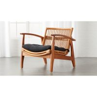 Noelie Rattan Lounge Chair with Cushion + Reviews | CB2