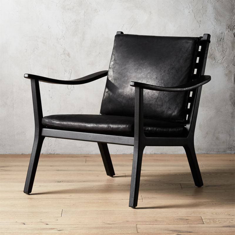 Parlay Black Leather Lounge Chair  Reviews  CB2