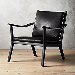 wood and leather chair walmart modern accent chairs armchairs cb2 parlay black lounge