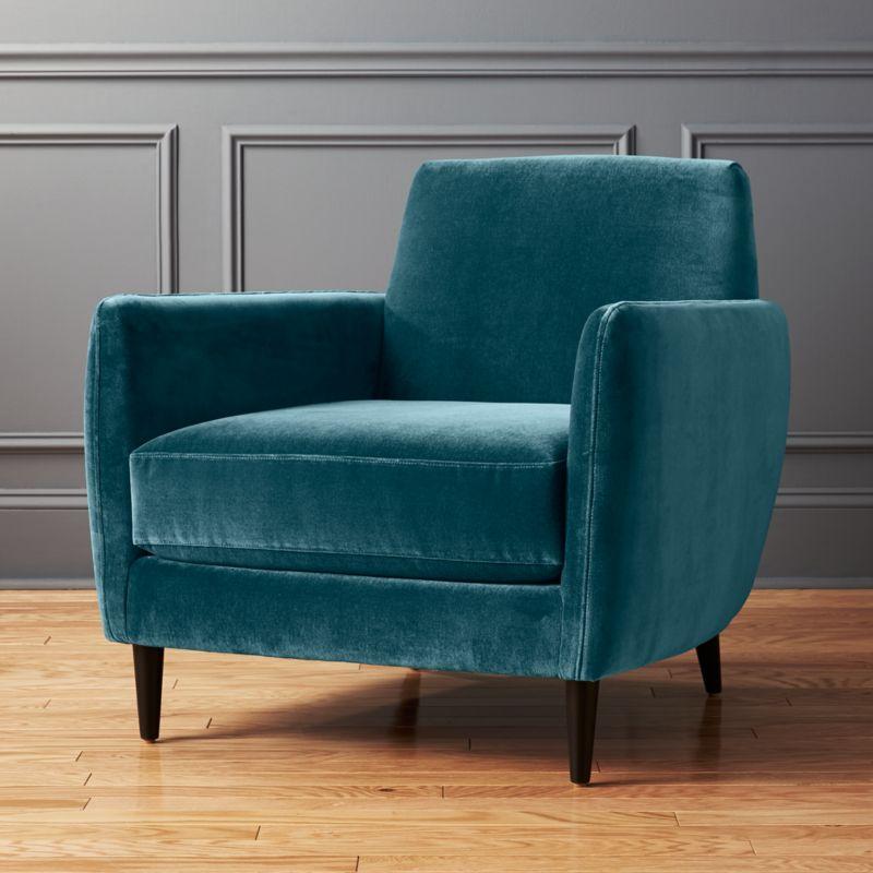 teal club chair kids folding camp modern chairs cb2 parlour cyan blue