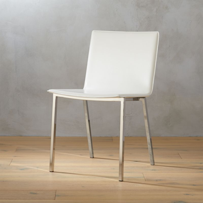 leather dining chairs modern salon hair wash chair size contemporary cb2 phoenix ivory