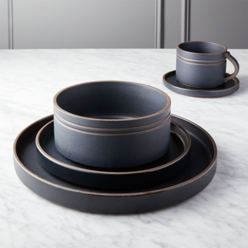 kitchen table sets target eat in pitch matte black dinnerware | cb2