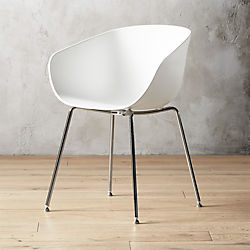 plastic chairs with stainless steel legs folding chair bed ikea modern accent and armchairs cb2 poppy white