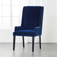 Accent Chair Blue Club Recliner Upholstered Chairs Cb2 Reynolds Navy Velvet