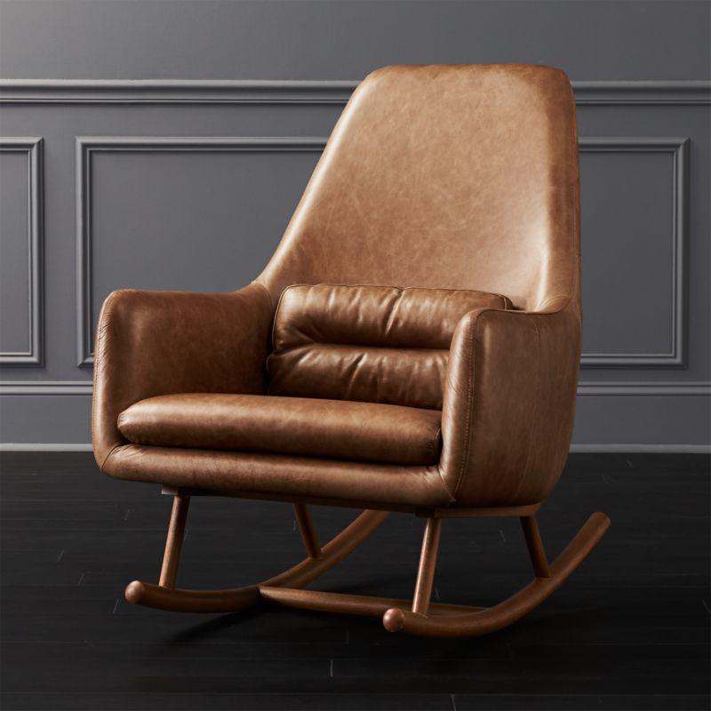 cheap modern rocking chair pad chairs cb2 saic quantam cognac leather