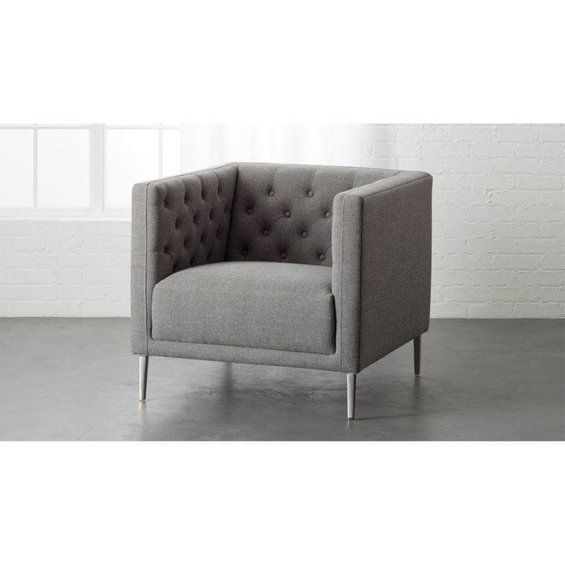 white tufted chair lounge chairs at walmart savile gris reviews cb2