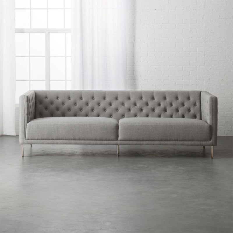 tufted button sofa best singapore review sofas cb2 savile gris