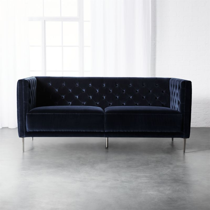 apartment sized furniture living room trends in colors sofas cb2 savile midnight blue velvet sofa