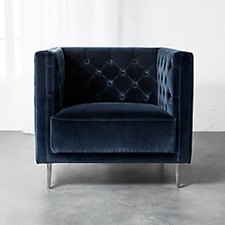 bubble club chair replica upholstering a modern accent chairs and armchairs cb2 savile midnight blue velvet