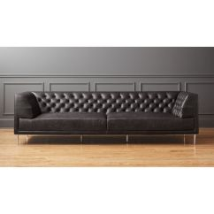 Long Sofas Leather Vine Nubby With Pattern Fabric Sofa Savile Black Tufted Extra Large Reviews Cb2 Savileseclthrblkp1xlsofashf17 1x1
