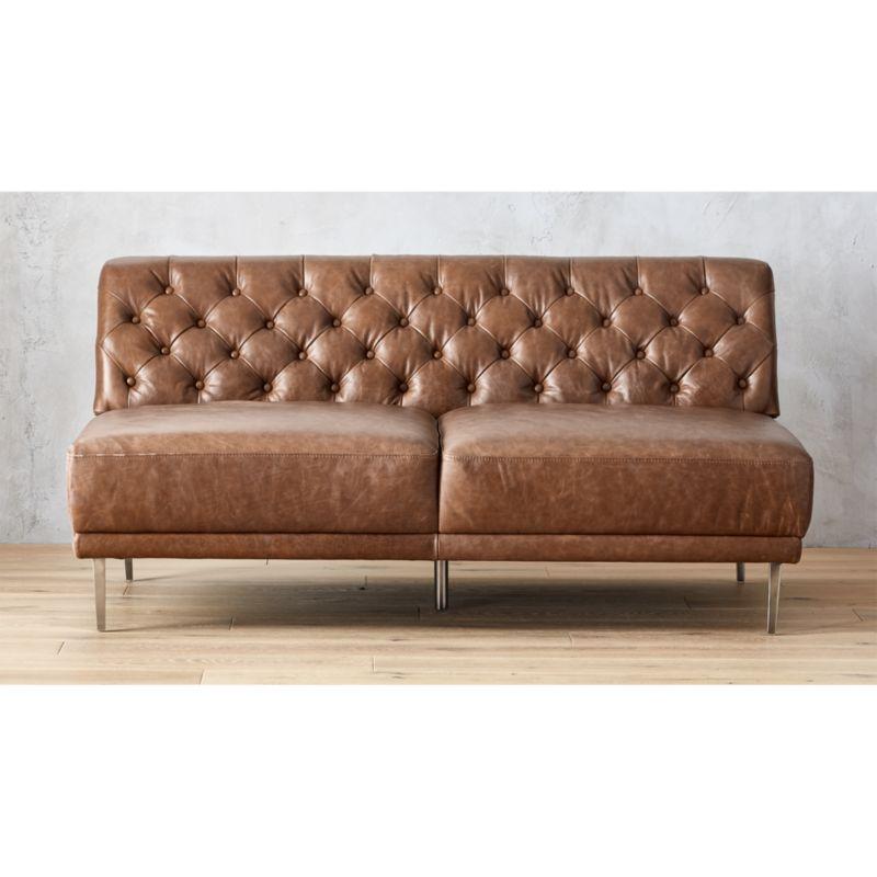 armless sofas sectional power recliners savile dark saddle leather tufted sofa reviews cb2 savilesecltrsadp2armlssfashf17 1x1