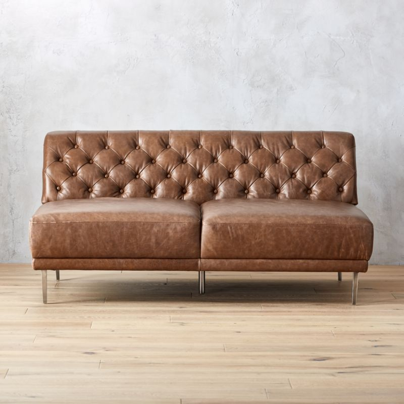 tufted brown leather sofa corner beds uk pay monthly sofas cb2 savile dark saddle armless