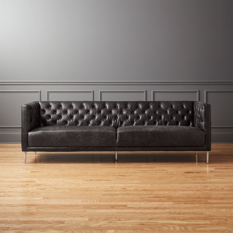 tufted button sofa broyhill sectional covers sofas cb2 savile black leather