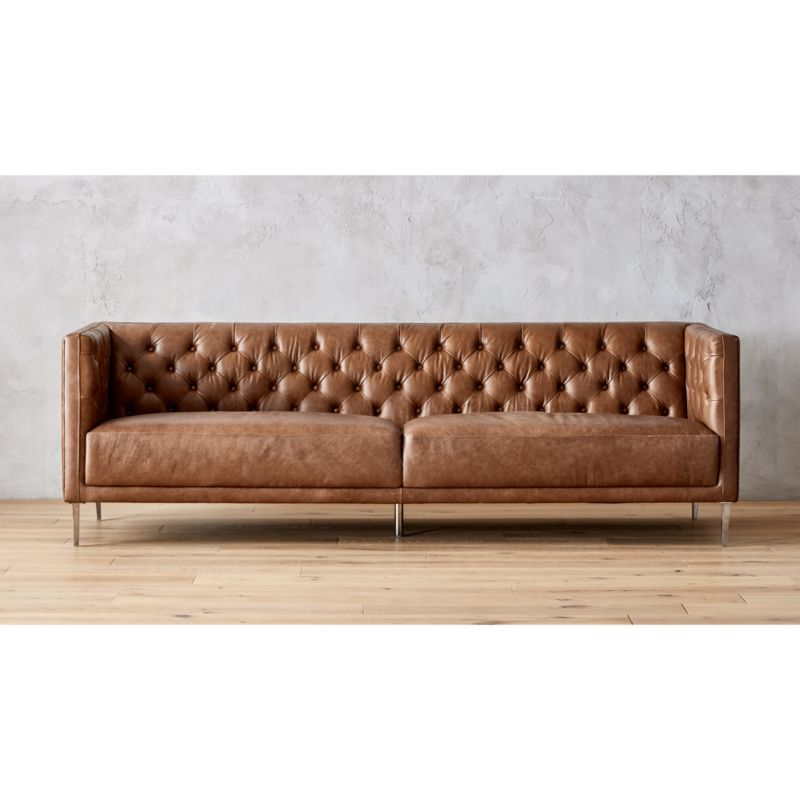 tufted brown leather sofa best at raymour and flanigan savile dark saddle reviews cb2 savilesofalthrsaddleshf17 1x1