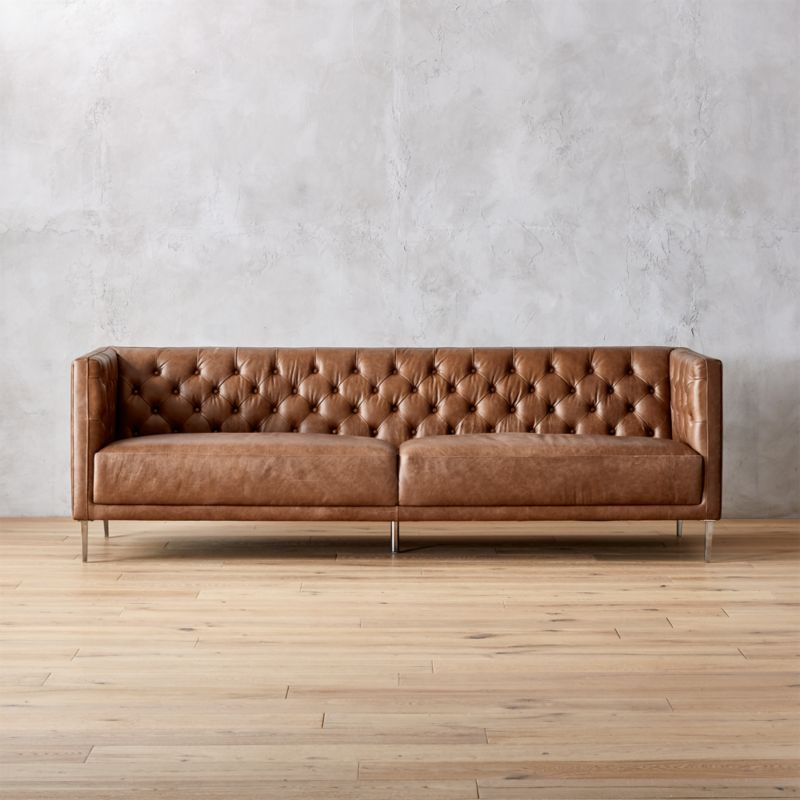 tufted button sofa lounge bed suppliers sofas cb2 savile dark saddle brown leather