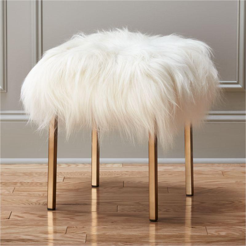 fuzzy sheepskin stool  Reviews  CB2