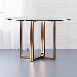 circle glass table and chairs turquoise side chair unique modern dining tables cb2 silverado brass 47 round